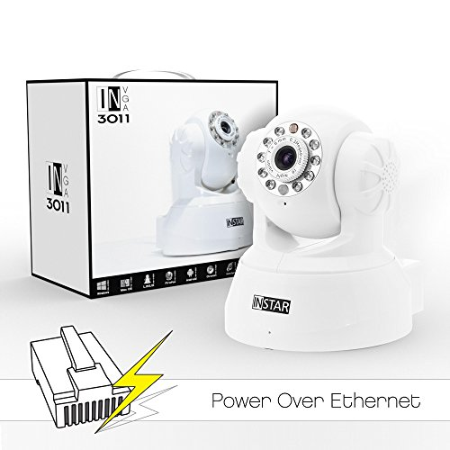 INSTAR® IN-3011 PoE (weiss) steuerbare Pan Tilt PoE IP Kamera mit max. 15 festen Kamerapositonen, eingebautem Motor, Mikrofon, Lautsprecher, Alarm IO Ein/Ausgang sowie mit IR Nachtsicht. Für MAC / Windows / Linux / Android und IPhone