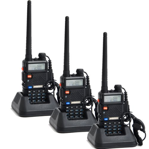 Baofeng Uv-5R 136-174/400-480 Mhz Dual-Band Ctcss/Dcs Fm Transceiver With Earpiece Ham Amateur Radio Walkie Talkie 2 Way Radio Long Range Black Pack Of 3