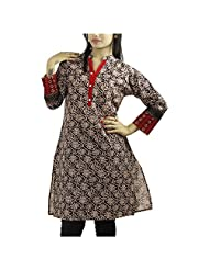 Fashion Freaks Grey Cotton Printed Round Neck Kurti