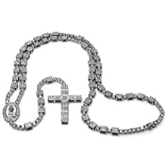 Mens Platinum Plated Hip Hop Style 30 Inch long 8 Inch Drop Iced Out White Cubic Zirconia Rosary Chain Necklace with Square dice Beads set Lobster Clasp