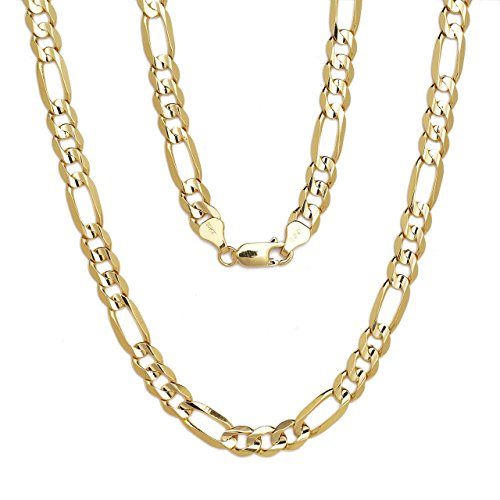 "16"" Figaro Chain Necklace W/ Concave Look - 10K Yellow Gold - 0.31 Inch (8Mm)"