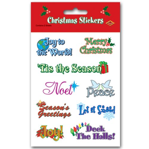 Beistle Christmas Expressions Stickers Sheet, 4-3/4-Inch by 7-1/2-Inch, 4 Sheets Per Package