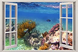 Removable Wall Decals - Huge Vinyl Mural - 3D Window Stickers - Large Nature Poster 33.5\