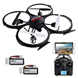 U818A Updated WiFi FPV RC Drone with 2MP HD Camera DBPOWER 2.4Ghz Quadcopter Gravity Induction Headless Mode Low Voltage Alarm 2 Batteries
