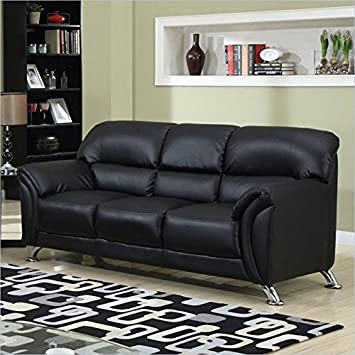 Global Furniture Vinyl Matching Sofa with Black/Chrome Legs