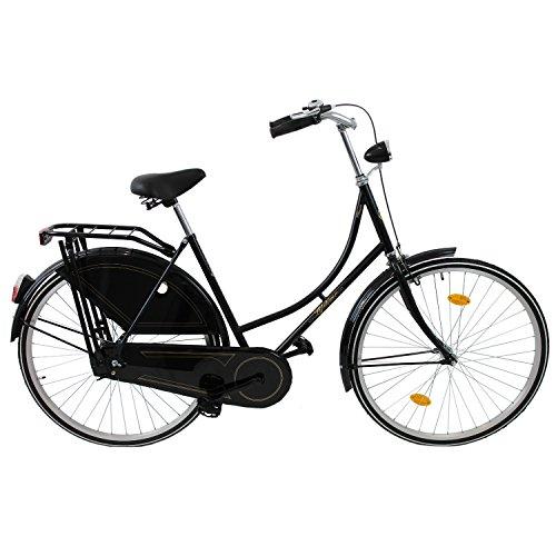 28 Zoll Fahrrad Damenfahrrad Hollandrad Hollandfahrrad Cityrad Schwarz mit Vorder- und Rücktrittbremse Klappständer - STVO-Ausstattung