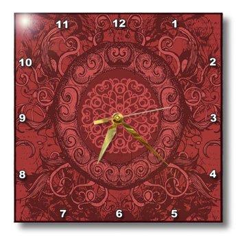 Anne Marie Baugh Elegant Grunge - Renaissance Inspired Oval Design In Red - 15x15 Wall Clock (dpp_78443_3)
