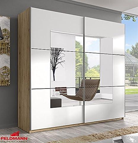 Schwebeturenschrank Kleiderschrank 54562 sanremo eiche hell / weiß mit Spiegel 180cm