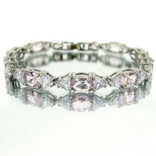 myCullinan Elegant Oval Cut White Gold Plated Silver Simulated Pink Sapphire Diamond Accent Bracelet BC258