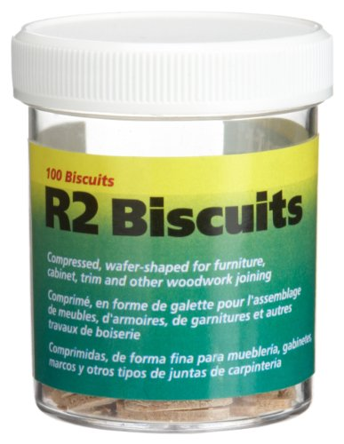 Wolfcraft 2994404 of #R2 Compressed Wafer Shaped Wood Biscuits for Joining Wood Pieces, 100 Piece Jar