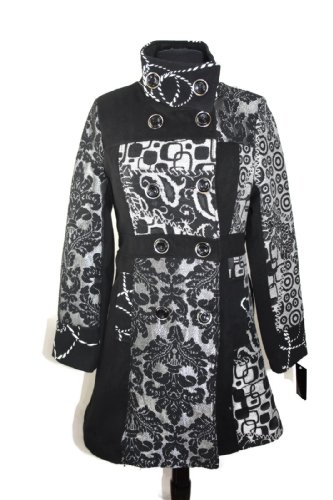 #697 Damen Designer Patchwork Winter Mantel Trenchcoat Wintermantel 36 38 40 42 Schwarz Elchen (44)