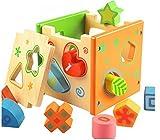 BATTOP積み木 木製パズル 就学前の教育玩具 カラー形状認識玩具