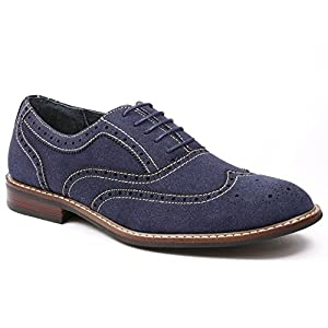 Ferro Aldo M-139001 Men's Denim Blue Lace Up Wing Tip Dress Classic Oxford Shoes (12)