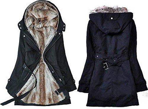 Fleece Faux Fur Warm Lining Coat Womens 2 Fur Lined Hoodie Long Jackets