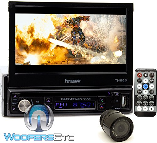 ultimum vitae pkg farenheit ti 895b in dash 1 din 7 motorized flip out lcd touchscreen dvd cd usb receiver bluetooth v3 0 xo vision backup camera nightvision