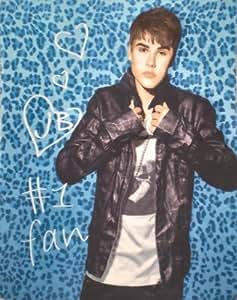 Justin Bieber Blue Leopard Fleece Throw Blanket