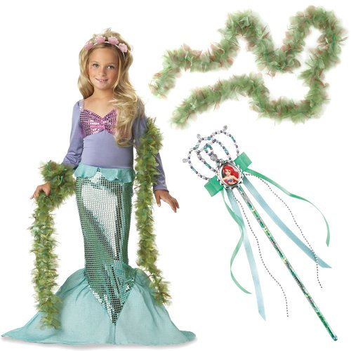 Little Mermaid Girl's Costume Small (6-8) Including Ariel Wand and SeaWeed Boa