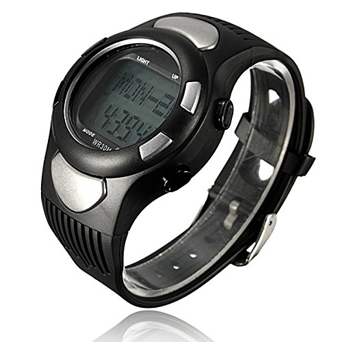 Sports Fitness Watch Pedometer Pulse Heart Rate Calories Monitor Color Silver