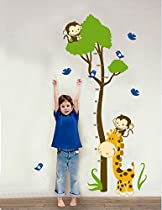 Huge Giraffe Monkey Tree Kids Growth Chart Height Measure Wall Stickers Boy Girl Kids Rooms Decoration Decals