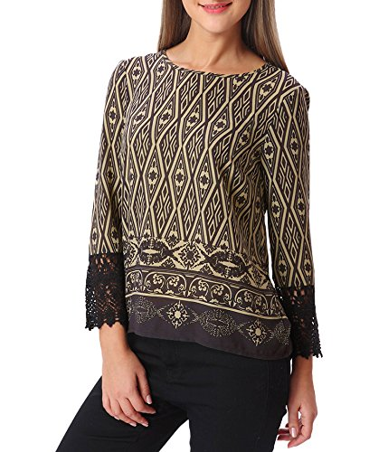 Top a fantasia con maniche all'uncinetto Vmsaide - Marrone-XL