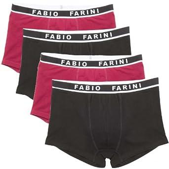 Coton Boxer - Lot de 4 Homme Fabio Farini, taille:M;couleur:2x Rouge 2x Noir