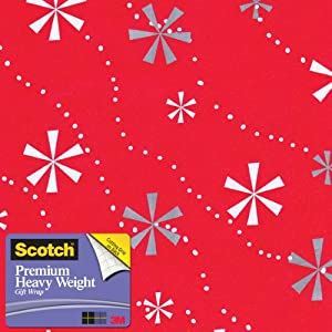 Scotch Gift Wrap, Snowflaked Stripes Pattern, 25-Square Feet, 30-Inch x 10-Feet (AM-WPSNS-12)