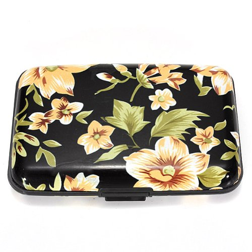MECO(TM) Colorful Pocket Waterproof Business ID Credit Card Holder Wallet Metal Box Case (Black&White Flower)