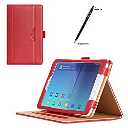 ProCase Samsung Galaxy Tab E 8.0 Case - Leather Stand Folio Case Cover for Galaxy Tab E 8.0 4G LTE Tablet (Sprint,US Cellular, Verizon) SM-T377, Multiple Viewing Angles, Document Card Pocket (Red)