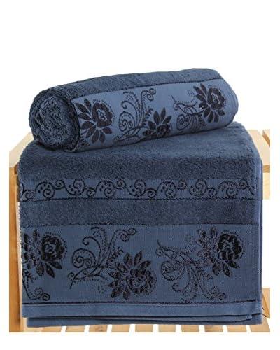 Maisonette Selen 2-Piece Bath Towel Set, Dark Blue