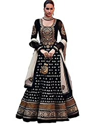 Maxthon Fashion Women Black Printed Regular Wear Unstitched Dress Material (New Dress Material 3050)