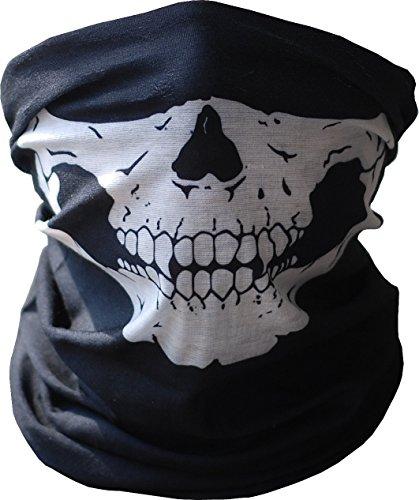Diageng Black Seamless Skull Face Tube Mask Buff Thin