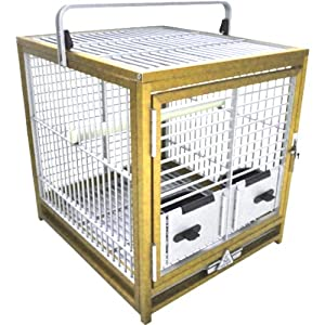 KINGS CAGES ATS 1719 ALUMINUM PARROT TRAVEL CARRIERS CAGE bird toy toys african grey (GOLD)