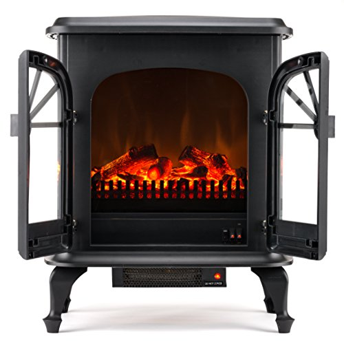 Wellington Free Standing Electric Fireplace Stove - 28 Inch Black Portable Electric Vintage Fireplace with Realistic Fire and Logs. Adjustable 800-1500W 400 Square Feet Space Heater Fan