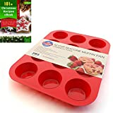 Silicone Muffin Pan and Cupcake Maker 12 Cup, Red, Includes 101+ Christmas Recipe Ebook