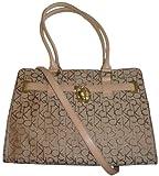 Women's Calvin Klein Purse Handbag Signature Logo Tote Khaki/Brown/Gold