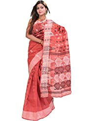 Exotic India Baroque-Rose Tant Saree From Bengal With Woven Flowers - Pink