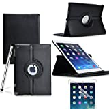Eallc 360 Degree Rotating Smart Stand Leather Case Cover with Auto Sleep / Wake for iPad Air (2013 version)/ iPad 5 (5th Generation) (black)