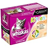 Whiskas Kitten Meat Selection in Gravy 12 Pouches (Pack of 4, Total 48 Pouches)