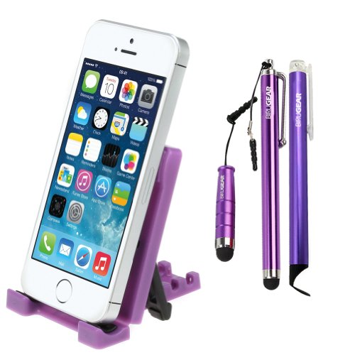 Ikross Portable Collapsible Desk Stand Holder + 3X Touch Screen Stylus For Samsung Galaxy Note 3, Galaxy Mega 6.3, Galaxy S Iv / S4 And More Cellphone Smartphone Mp3 Player - Purple