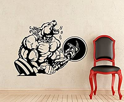 Bodybuilding Sticker Powerlifting Strong Man Gym Wall Decal Fitness Motivation Bear Barbell Beast Mode Vinyl Sticker Sport Wall Decor Removable Waterproof Decal (22t)