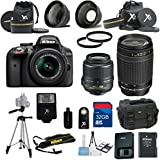 Nikon D3300 Black Camera with Nikon 18-55mm VR Lens Al's Variety Premium Bundle with Deluxe + Nikon 70-300mm Zoom Lens + Gadget Bag + 2pc Filter Kit + XIT Wide Angle Lens + XIT Telephoto Lens + Tripod + 32GB Bandwidth Memory Card + 15pc Accessory Bundle Kit
