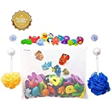 #1 Rated Bath Toy Organizer + 2 Bonus Strong Grip Lock Suction Hooks (White)
