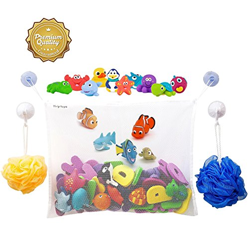 #1 Rated Bath Toy Organizer - Large Storage Basket for Baby Boys and Girls with 2 Extra Strong Suction Cups - Strongly Suctions to Tile and Glass - Washable Mold Resistant