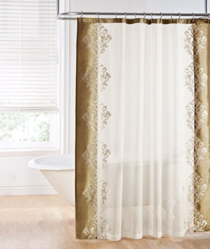 Regal Home Collections Danbury Embroidered Shower Curtain Beige New Free Ship Ebay