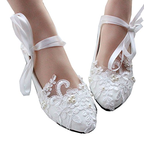 Getmorebeauty Women's Mary Jane Flats String Knot Dress Wedding Shoes 9 B(M) US