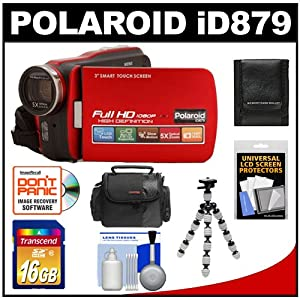 Polaroid iD879 1080p HD Touch Screen Video Camera Camcorder with LED Light (Red) with 16GB Card + Case + Flex Tripod + Accessory Kit