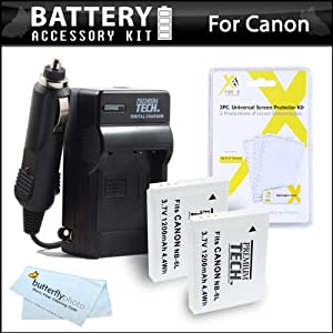 2 Pack Battery And Charger Kit For Canon PowerShot SX260 HS, SX280 HS, SX510 HS, SX520 HS, SX170 IS, S120, SX600 HS, SX700 HS, SX610 HS, SX710 HS, SX530 HS, D30 Digital Camera Includes 2 Extended Replacement (1200Mah) NB-6L Batteries + Ac/Dc Charger ++