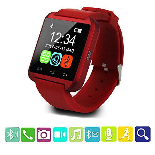U8 Smart Watch,Teslasz U8 Bluetooth 4.0 Smart Wrist Wrap Watch Phone for IOS Android Smartphones iPhone 5 and Samsung (Red)