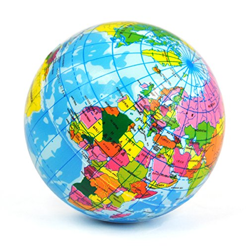 Topro Colorful World Map Sponge Ball Stress Relief Toy Baby Kids Soft Bounce Ball (World Map Round compare prices)