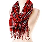 Red, White and Black Plaid Scarf